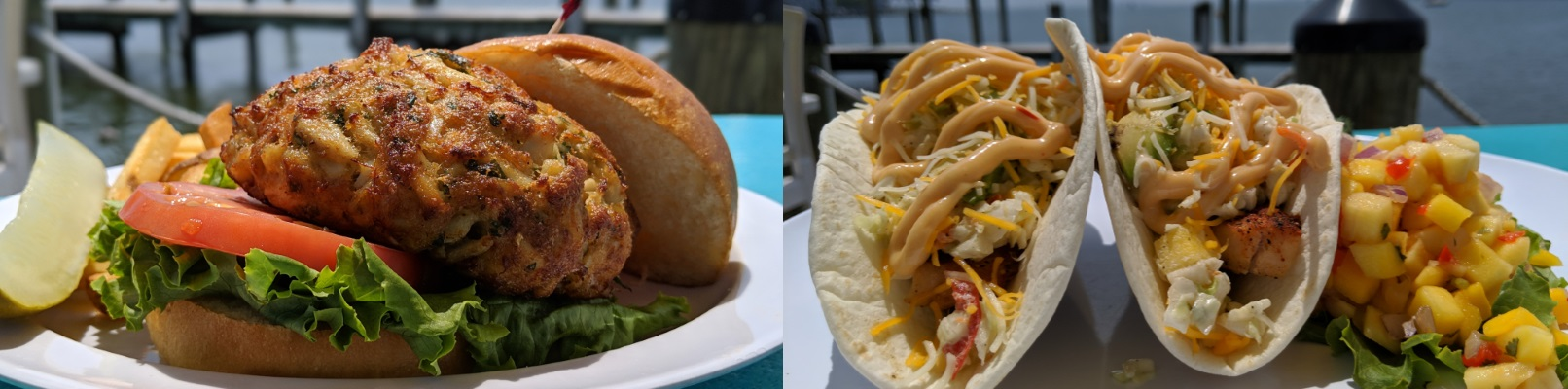 Crab Cake Sandwich / Tropical Fish Tacos